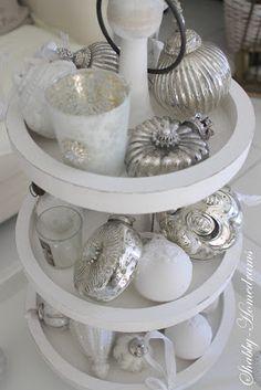 Christmas Display - love this display of mercury glass!