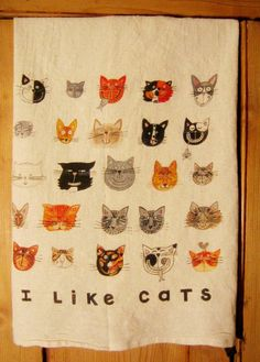 CATS Organic Kitchen Towel by LittleIslandCompany on Etsy, $14.00