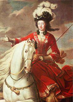 Elizabeth-Charlotte d'Orléans, princesse de Commercy duchesse de Lorraine on horse - Jean Baptiste Martin (detail).