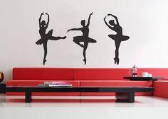 Three+Ballerinas++uBer+Decals+Wall+Decal+Vinyl+Decor+by+UberDecals,+$67.92
