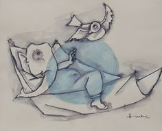 Maqbool Fida Husain In his expressive style, Modern Indian artist M.F. Husain depicts the elephant headed Hindu god Ganesh, who reaches out ...