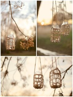 Rustic hangers for decoration  hanging from the walk way? or christmas lights