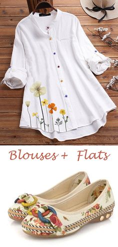 Women Casual Style Blouses & Flat Shoes Awesome Tips for Creating DIY Craft Style Casual, Casual Outfits, My Style, Blouse And Skirt, Peplum Blouse, Pretty Outfits, Fashion Dresses, Flat Shoes, Shoes Sandals