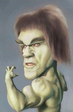 lou ferrigno era el hombre verde Hulk by Dwayne Bruce Cartoon Faces, Funny Faces, Cartoon Art, Caricature Artist, Caricature Drawing, Funny Caricatures, Celebrity Caricatures, Famous Cartoons, Funny Cartoons
