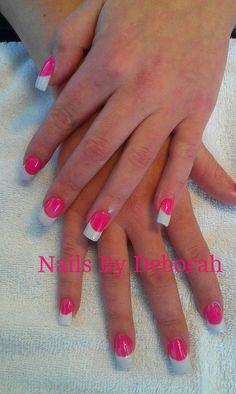 Bright pink & white - Nail Art Gallery