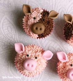 Piggy Cupcakes, Lamb Cupcakes, Farm Animal Cupcakes, Animal Cakes, Easter Cupcakes, Themed Cupcakes, Cupcake Piping, Cupcake Cakes, Pig Cakes