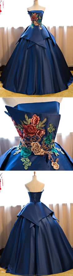 Gorgeous simple navy blue ball gown with floral embroidery