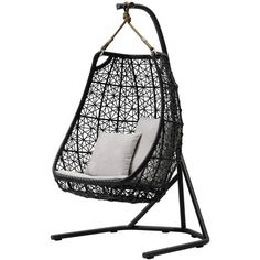 Kettal Home Egg Hanging Chair (3,565 CAD) ❤ liked on Polyvore featuring home, outdoors, patio furniture, hammocks & swings, black and outdoor hanging chair