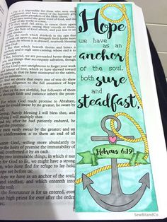Bible journaling bible verse art bible verse print great for illustrated faith and art journal - hope is an anchor - hebrews by sewbitandco on etsy Bible Verse Art, My Bible, Bible Scriptures, Scripture Study, Art Journaling, Bible Study Journal, Scripture Journal, Infj, Illustrated Faith