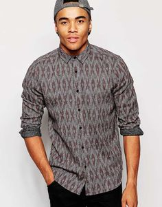 Image 1 of ASOS Ikat Print Shirt in Long Sleeves