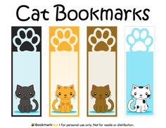 Free printable cat bookmarks in PDF format. The template includes four different bookmark designs per page. Free Printable Bookmarks, Bookmark Template, Origami Bookmark, Free Printables, Creative Bookmarks, Cute Bookmarks, Corner Bookmarks, Magnetic Bookmarks, Marque Page Origami