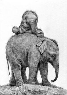 Rysunek małego słonia w czasie zabawy.