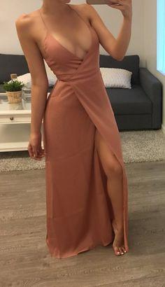 Split Prom Dress,Deep V Neck Prom Dress,Spaghetti Prom