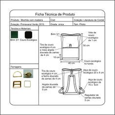 Ficha técnica, feita no Corel draw, da mochila que posteriormente foi confeccionada