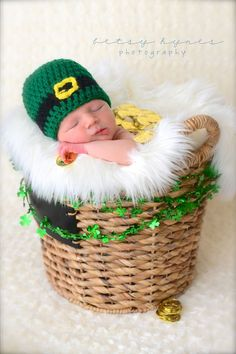 St Patricks Day baby crochet hat photography prop by echats, $14.00