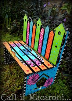 Whimsical Bird House Bench, Whimsy Bench, Children's Bench, Garden Bench, Colorful Hand Painted Kids' Park Bench, Bird, Flowers on Etsy, $80.00