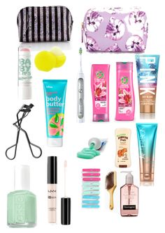 """""""What I am taking to the beach In my toiletries bag! Am I missing any thing?"""" by qdelany ❤ liked on Polyvore"""