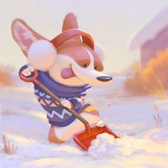 I had this little guy in my head, had to get it out there :D Mochi has never seen snow before, hopefully one day he'll get to rolling into the snow. ❄️#snowday #corgi #snow #illustration #character #digitalpainting