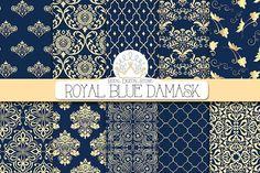 ROYAL BLUE DAMASK digital paper by RoyalDigitalStore on @creativemarket