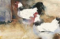 KO.77 sussex barnyard - giclee print from original watercolour Watercolor Animals, Watercolor Paintings, Watercolours, Kate Osborne, Chicken Art, Chicken Shack, Garden Painting, Art Techniques, Art Pictures