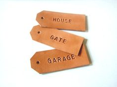 Set of 3 Personalized Leather Gift Tag, Hand Stamped Leather Key Ring, Gift for Her, Gift for Him, Handmade in UK
