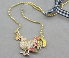 Betsey Johnson Farmhouse Rooster - Chicken Necklace. I'm developing a thing for chickens.
