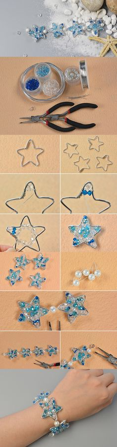 Making Handmade Silver Wire Star Bracelet with Beads