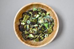 Charred Broccoli and Avocado Salad:     1 large head broccoli, about 1 2/3 pounds, Olive oil for cooking, 2 good handfuls chopped fresh herbs: cilantro, chervil, chives, and flat-leaf parsley all good choices, 1 rounded tbsp tahini, 1 tbsp lemon juice, 1 ripe avocado-diced, Fine sea salt, Freshly ground black pepper.