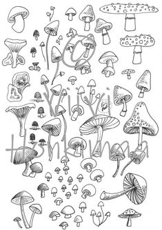 Bullet Journal Art, Bullet Journal Ideas Pages, Bullet Journal Inspiration, Bullet Journal Decoration, Autumn Bullet Journal, Bullet Journal Printables, Mushroom Drawing, Mushroom Art, Tiny Mushroom