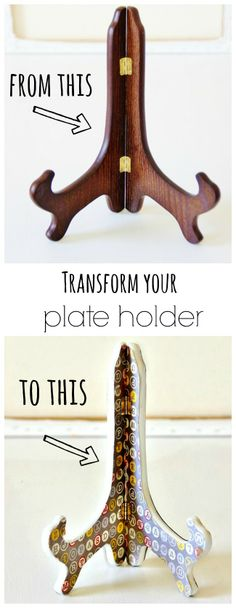 Easy project to customize your plate holder.  Transform it with scrapbook paper in 5 easy steps.  thistlewoodfarms.com
