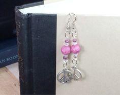 Peace charm dangle earrings by OnTheWireByMaryJane on Etsy, $15.00