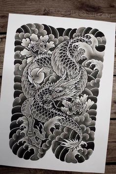 Ryuu Irezumi Japanese Dragon Tattoos, Japanese Tattoo Art, Japanese Tattoo Designs, Japanese Sleeve Tattoos, Japanese Art, Dragon Tattoo Full Back, Black Dragon Tattoo, Back Tattoo, Japan Tattoo