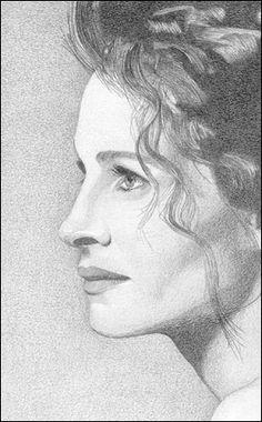 Portrait of Julia Roberts by martijn on Stars Portraits Pencil Portrait Drawing, Portrait Sketches, Portrait Art, Art Sketches, Celebrity Drawings, Celebrity Portraits, Cool Art Drawings, Pencil Art Drawings, Julia Roberts