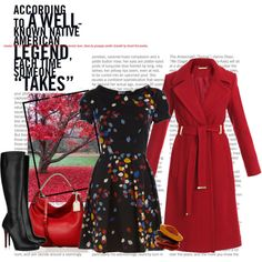 red coat, with boots and dress
