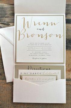 Bronson Wedding Invitation LARGE Pocketfold with Ribbon Tie - Ivory, Gold & Black (customizable). $8.99, via Etsy.