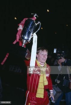Sammy Lee with the Milk Cup presented by the Milk Marketing Board who sponsored the League Cup competition after Liverpool had beaten Everton 1 - 0 in the League Cup Final replay at Maine Road in...