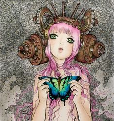 Pop manga coloring book. Pink girl