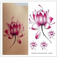 Watercolor Flowers Lotus Tattoo…