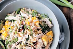 Israeli couscous, corn, chicken and herb salad