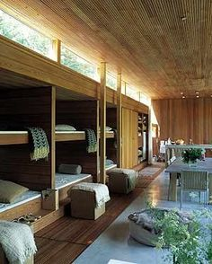 What if part of lower level were a bunk room! - Schmidt, Hammer & Lassen Summer House -- lots of bunk beds! Loft Spaces, Small Spaces, Small Rooms, Living Haus, Casas Containers, Modern Bunk Beds, Bunk Rooms, Bedrooms, Bunk Bed Designs