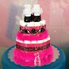 2 tier diaper cake from www.littlemissbabycakes.com #diapercake #baby