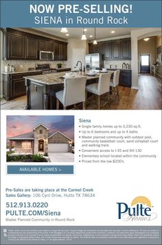 New Homes for Sale in Hutto, Texas  Don't Miss Siena Pre-Sale Prices - Limited Time Only!  Master planned community with outdoor pool, community basketball court, sand volleyball court and walking trails.  http://www.pulte.com/communities/TX/round-rock/Siena/209706/index1.aspx#.V6TnezfVCM9