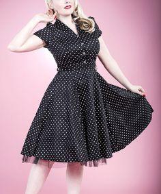 Black & White Small Dot Shirt Dress