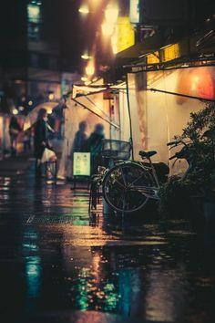 Japan street life on a rainy day ~ By Masashi Wakui. Tokyo night photography, Tokyo street photography, Tokyo photography.
