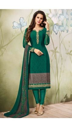 Gorgeous #Green And #Grey #Crepe #Churidar #Suit With #Dupatta - DMV15061