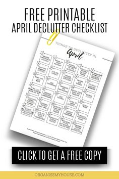 Love this simple list of items to remove from your home and life in April - and the free printable checklist makes things so easy to follow. This declutter will be great, and I can't wait to get started Old Mirrors, Clutter Free Home, Old Towels, Art Storage, Household Chores, Declutter Your Home, April Showers, Feeling Overwhelmed, Decluttering