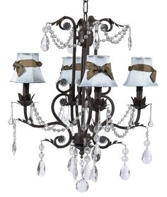 Chic Chocolate Romantic Chandelier With French Blue Shades [7508 2411 309] - $524.00 : The Painted Cottage, Vintage Painted Furniture