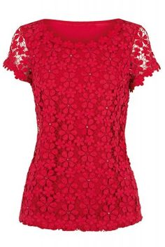 Oasis Twinkle Crochet Lace T-Shirt Crochet Shirt, Crochet Lace, Red Lace Top, Gowns Of Elegance, Fashion Today, T Shirts For Women, Clothes For Women, Classy Outfits, Oasis