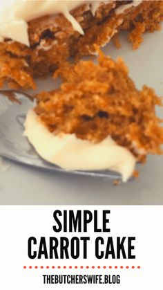 Yummy Carrot Cake is easy to make! It is simple but delicious! A moist carrot cake with a sweet and creamy cream cheese frosting! Carrot Cake Bars, Easy Carrot Cake, Moist Carrot Cakes, Easy Cake Recipes, Frosting Recipes, Dessert Recipes, Baking Recipes, Cake Fillings, Savoury Cake