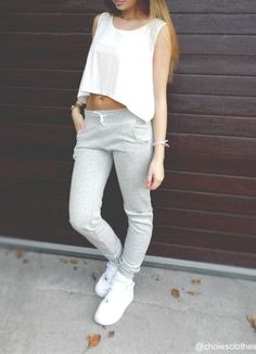 casual, fashion, girls, grey, ootd, pretty, sweatpants, trend,